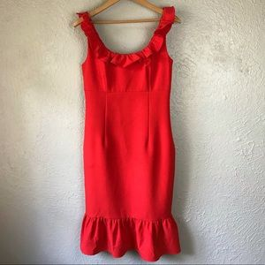 Nanette Lepore Red Ruffle Dress Size 4